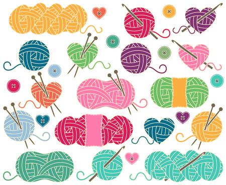 coser: Linda colección de Bolas del hilado, madejas de hilo o hilo para tejer y ganchillo Vectores