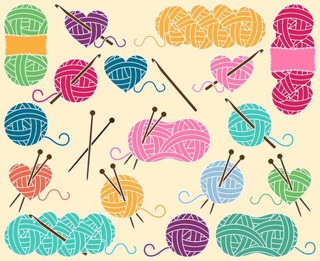 crochet: Cute Collection of Balls of Yarn, Skeins of Yarn or Thread for Knitting and Crochet
