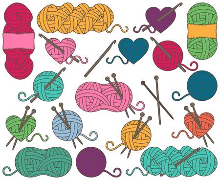 Leuke inzameling van de Ballen van Garen, strengen garen of draad voor het breien en haken Vector Illustratie