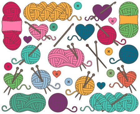 원사의 공, 원사의 타래 또는 편직 및 크로 셰 뜨개질에 대한 스레드의 귀여운 컬렉션