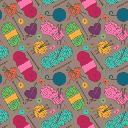 tileable background: Seamless, Tileable Background with Yarn, Knitting Needles and Crochet Hooks