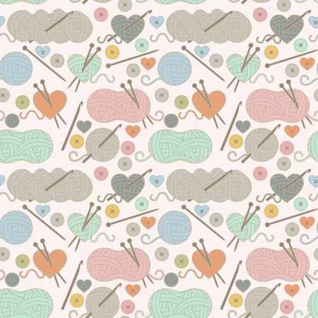 Seamless, Tileable Background with Yarn, Knitting Needles and Crochet Hooks