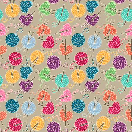 crochet: Seamless, Tileable Background with Yarn, Knitting Needles and Crochet Hooks