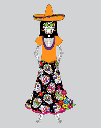 Day of the Dead or Halloween Skeleton Woman