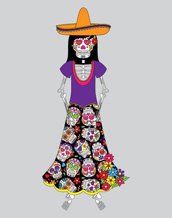 halloween skeleton: Day of the Dead or Halloween Skeleton Woman