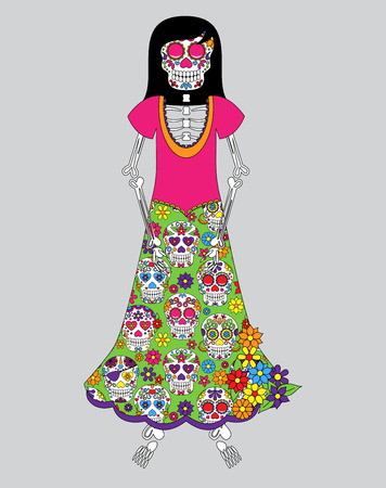 dead girl: Day of the Dead or Halloween Skeleton Woman