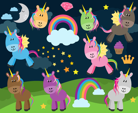 pocima: Colección linda de los unicornios o caballos