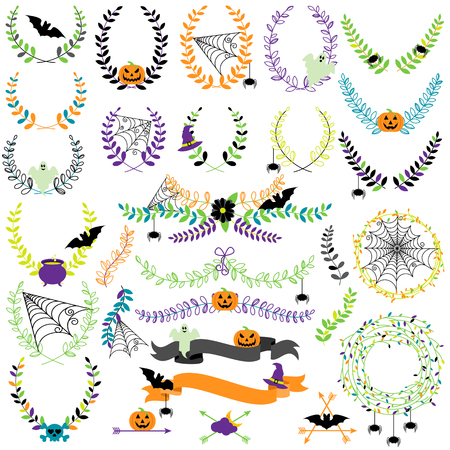 spiderweb: Vector Collection of Spooky Halloween Laurels, Wreaths and Floral Elements