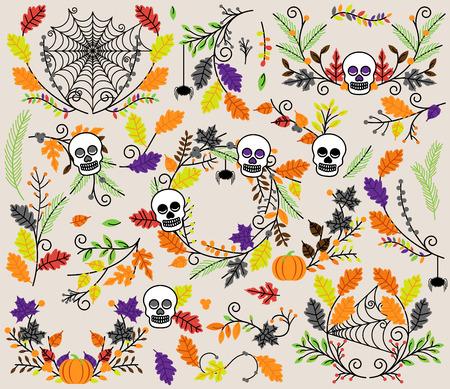 Vector Collection of Halloween Florals, Laurels and Wreaths