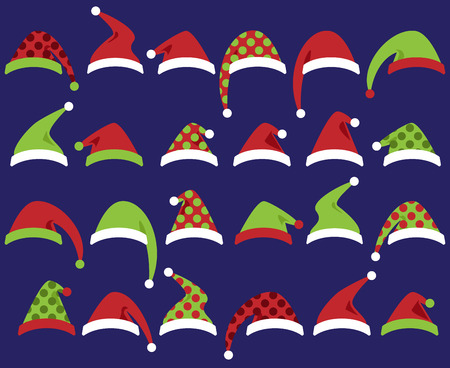 christmas hats: Vector Set of Cute Santa Claus or Christmas Hats