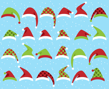 st claus: Vector Set of Cute Santa Claus or Christmas Hats