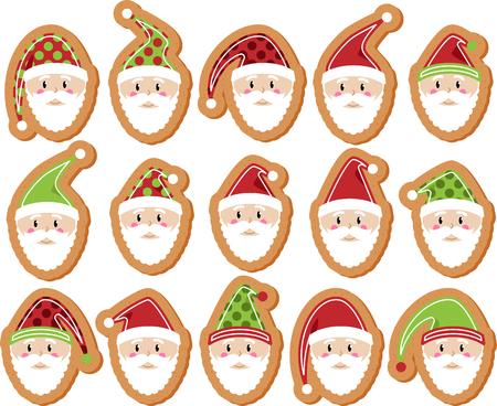 Vector Set of Santa Claus Gingerbread Cookies