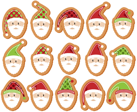 st nick: Vector Set of Santa Claus Gingerbread Cookies