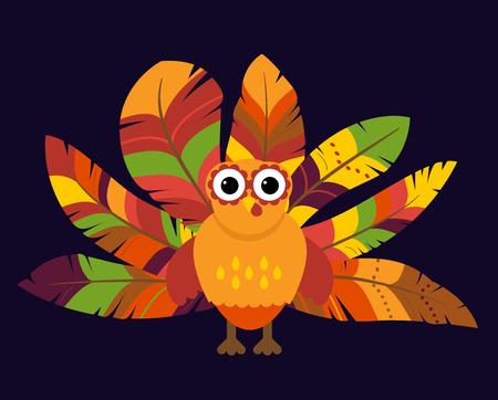 caes: Vector lindo del pavo con plumas de colores para la acción de gracias y de la caída