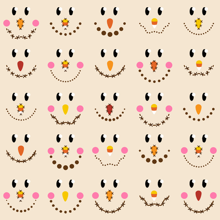 Vector Collection of Cute Scarecrow Faces Illustration