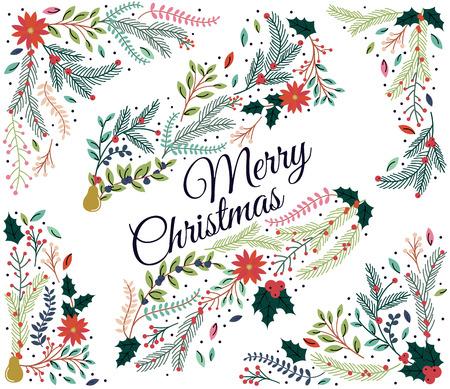 Ensemble de décorations florales pour Noël ou les vacances d'hiver
