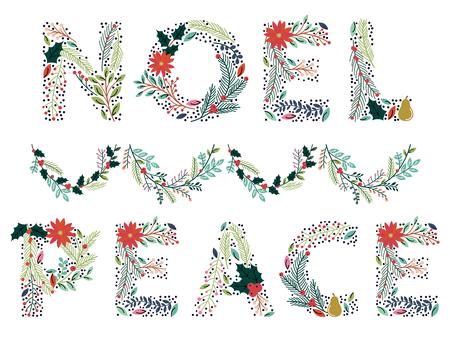 Beau Noël ou Vacances d'hiver Floral Word dans Format