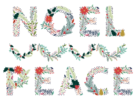 Prachtige Kerstmis of Wintervakantie Floral Woord in Format