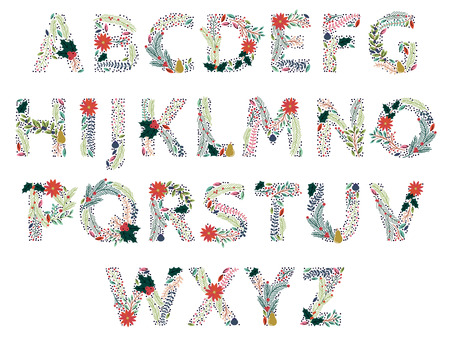 Beautiful Christmas or Winter Holidays Floral Alphabet