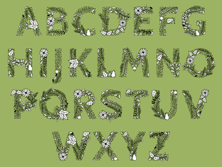 christmas tree branch: Christmas or Winter Themed Floral Alphabet in Line Art Style