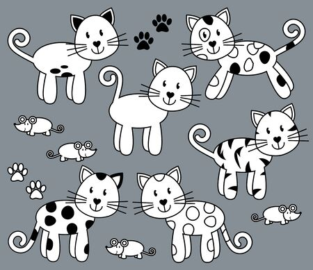bobtail: Vector Collection of Cute and Playful Cats or Kittens