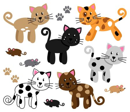 calico: Vector Collection of Cute and Playful Cats or Kittens