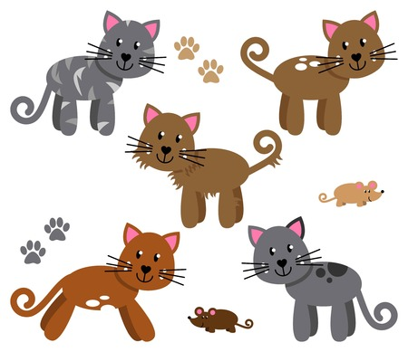 Vector Collection of Cute and Playful Cats or Kittens