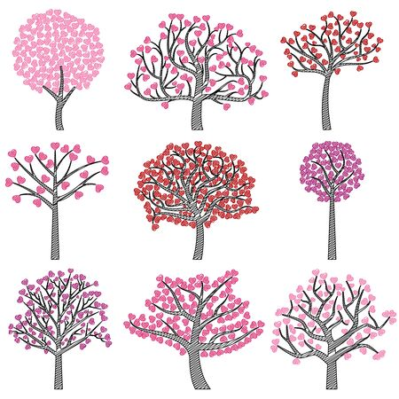 tree silhouettes: Valentines Day Tree Silhouettes with Heart Shaped Leaves - Vector Format