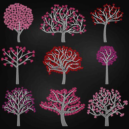 黒板バレンタイン ツリー シルエット、心形の葉 - ベクトル形式 写真素材 - 69589413