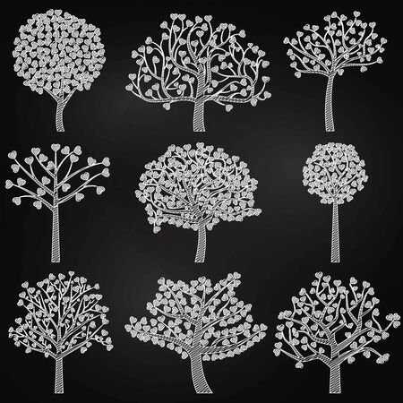 Chalkboard Valentines Day Tree Silhouettes with Heart Shaped Leaves - Vector Format