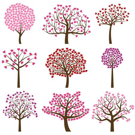 バレンタイン ツリー シルエット、心形の葉 - ベクトル形式 写真素材 - 69471778