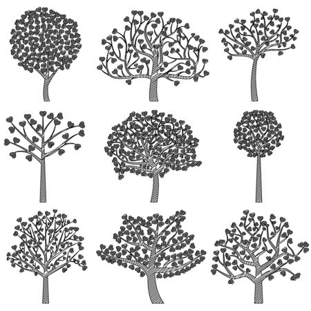 Valentines Day Tree Silhouettes with Heart Shaped Leaves - Vector Format