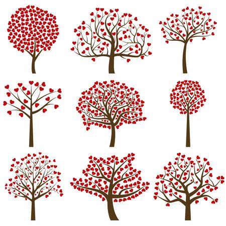バレンタイン ツリー シルエット、心形の葉 - ベクトル形式