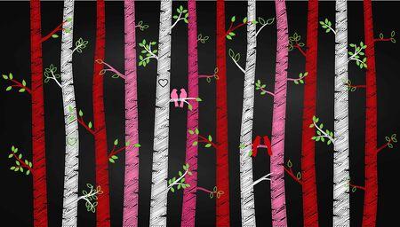 lovebirds: Chalkboard Valentines Day Birch Tree or Aspen Silhouettes with Lovebirds - Vector Format