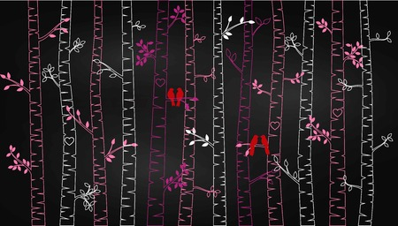 Chalkboard Valentines Day Birch Tree or Aspen Silhouettes with Lovebirds - Vector Format