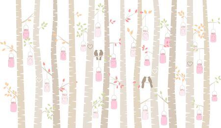 バレンタインデーの白樺やアスペン シルエットの恋人と石工の瓶ライト - ベクトル形式 写真素材 - 69472543