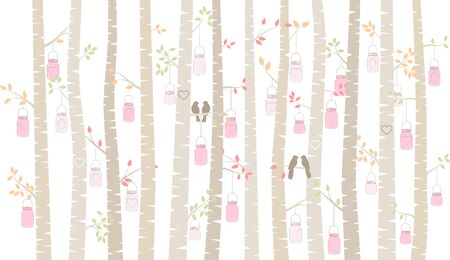 lovebirds: Valentines Day Birch Tree or Aspen Silhouettes with Lovebirds and Mason Jar Lights - Vector Format Illustration