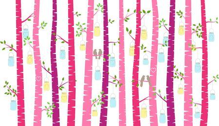 Valentines Day Birch Tree or Aspen Silhouettes with Lovebirds and Mason Jar Lights - Vector Format Ilustração