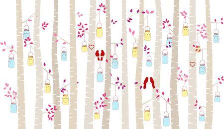バレンタインデーの白樺やアスペン シルエットの恋人と石工の瓶ライト - ベクトル形式 写真素材 - 69472546