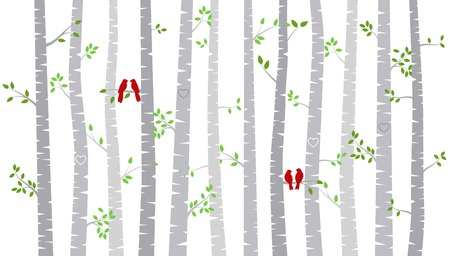 tree: Valentines Day Birch Tree or Aspen Silhouettes with Lovebirds - Vector Format