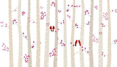 バレンタインデーの樺の木や恋人たち - ベクトル形式とアスペン シルエット 写真素材 - 69471787