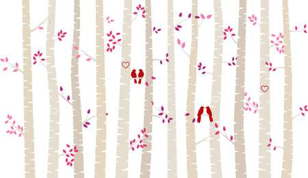 Valentines Day Birch Tree or Aspen Silhouettes with Lovebirds - Vector Format