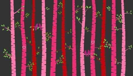 バレンタインデーの樺の木や恋人たち - ベクトル形式とアスペン シルエット 写真素材 - 69472554