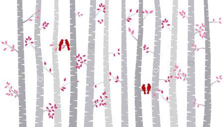 バレンタインデーの樺の木や恋人たち - ベクトル形式とアスペン シルエット 写真素材 - 69472556