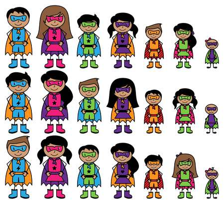 Cute Collection of African American or Hispanic Stick Figure Superheroes or Superhero Families - Vector Format