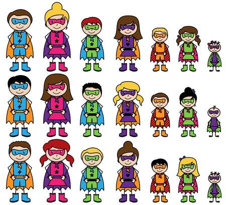 Cute Collection of Diverse Stick Figure Superheroes or Superhero Families - Vector Format