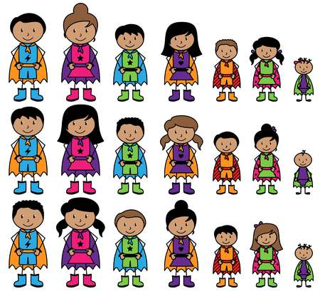 latin american girls: Cute Collection of African American or Hispanic Stick Figure Superheroes or Superhero Families - Vector Format