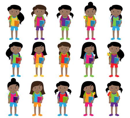Sammlung von Cute und Diverse Vector Format Weibliche Studenten oder Absolventen Vektorgrafik