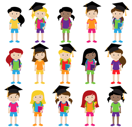 Collection of Cute and Diverse Vector Format Female Students or Graduates