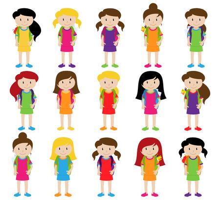 かわいいと多様なベクトル形式の女子学生や卒業生のコレクション